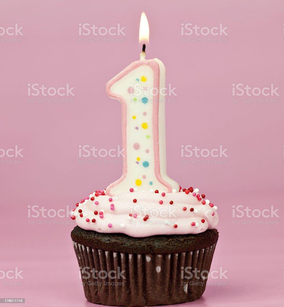 Girl's First Birthday Cupcake royalty-free stock photo