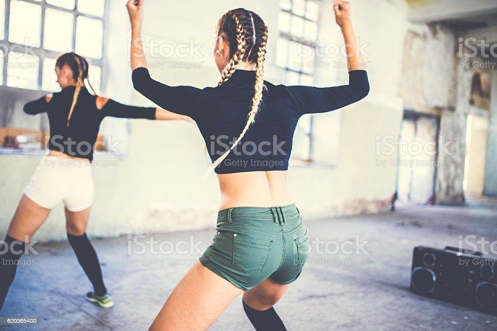 Girls fitness and dancing zbiór zdjęć royalty-free