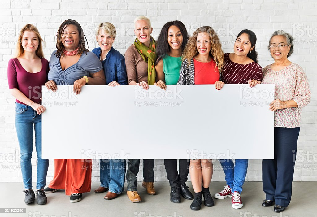 Girls Friendship Togetherness Copy Space Banner Concept stock photo