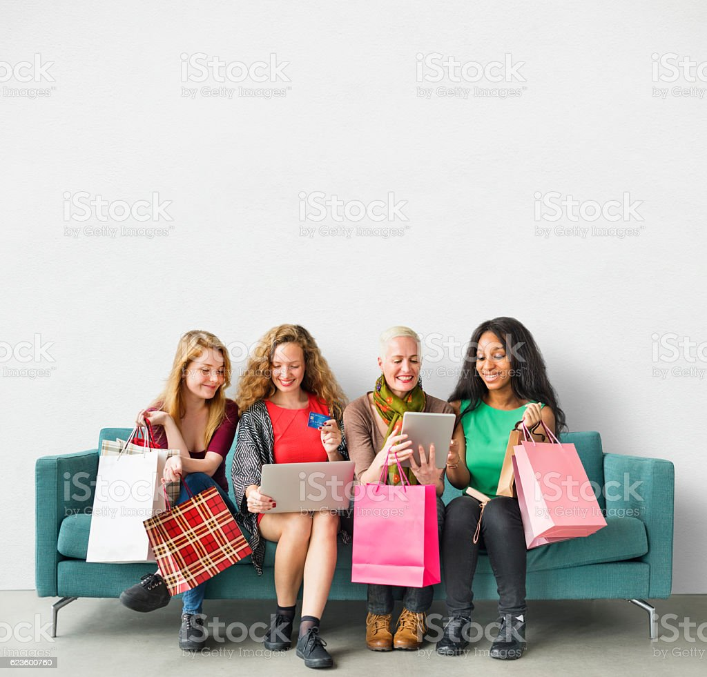Girls Friendship Togetherness Online Shopping Concept stock photo