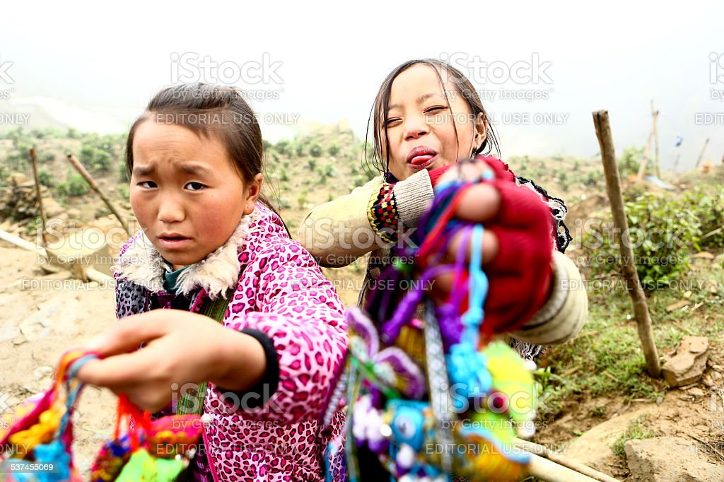 Girls from the H'mong Ethnic Minority stock photo