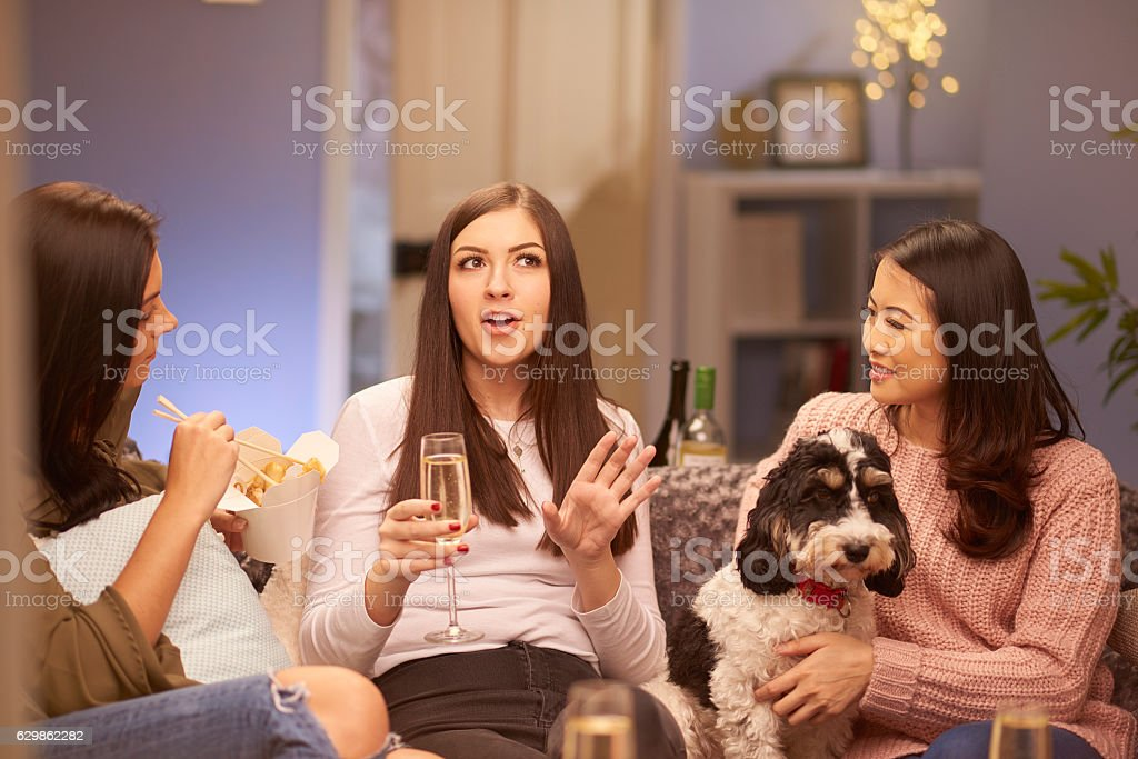 girl's get together stock photo