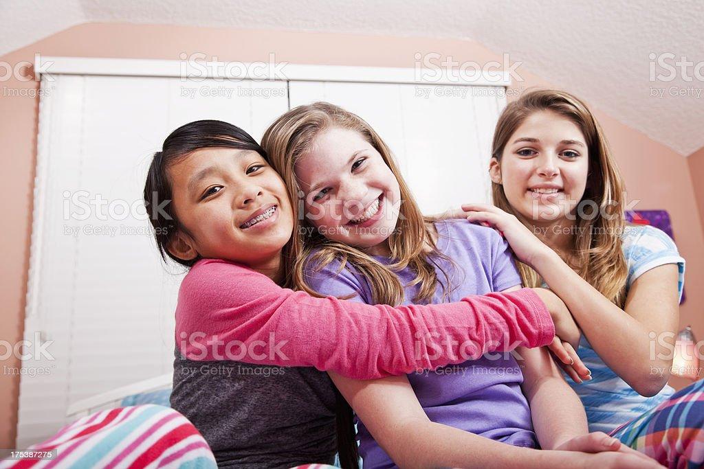 Girls having a sleepover royalty-free stock photo