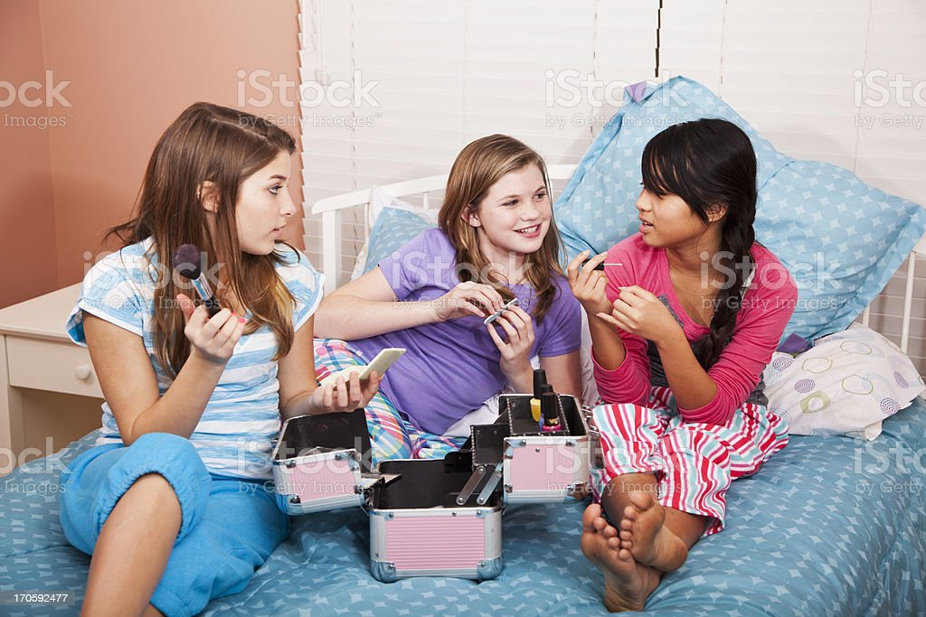Girls having a slumber party stock photo