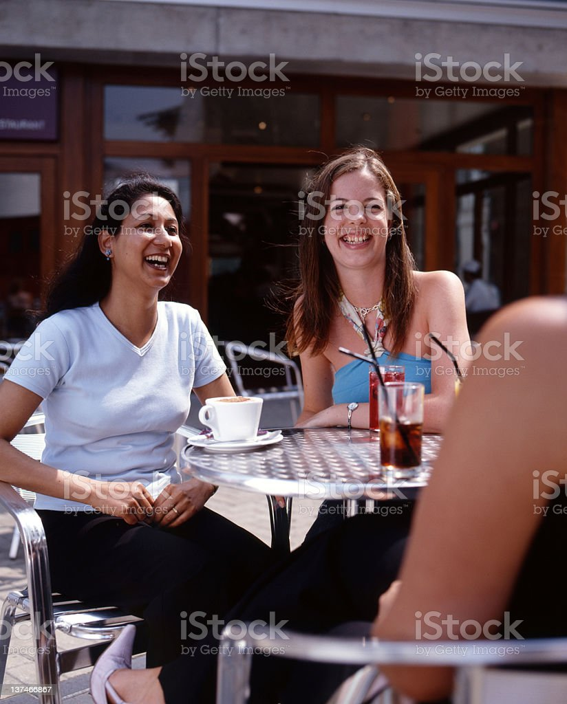 Girls having fun at the Cafe royalty-free stock photo