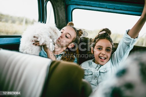 Girls Having Fun In Vintage Car And Kissing Little Dog