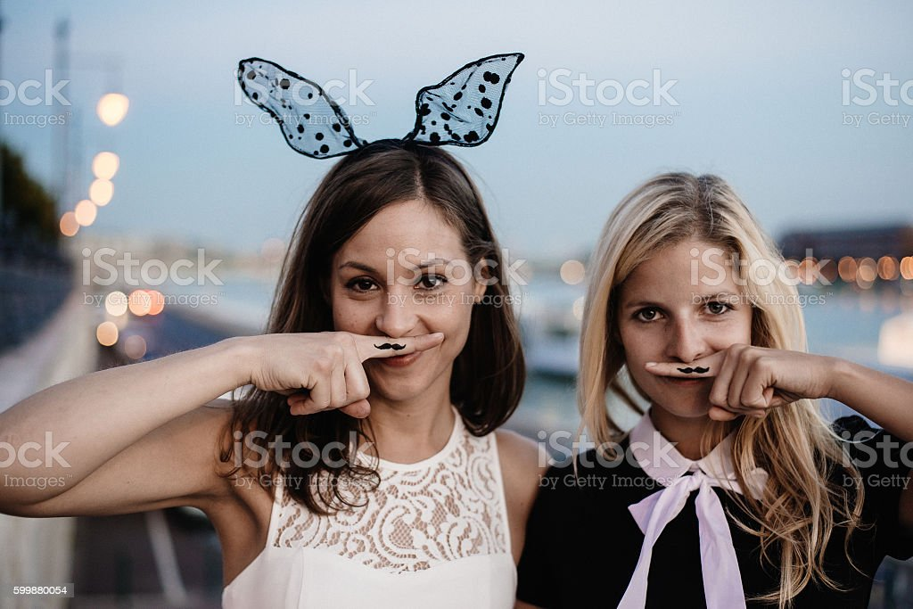 Girls having fun outdoor stock photo