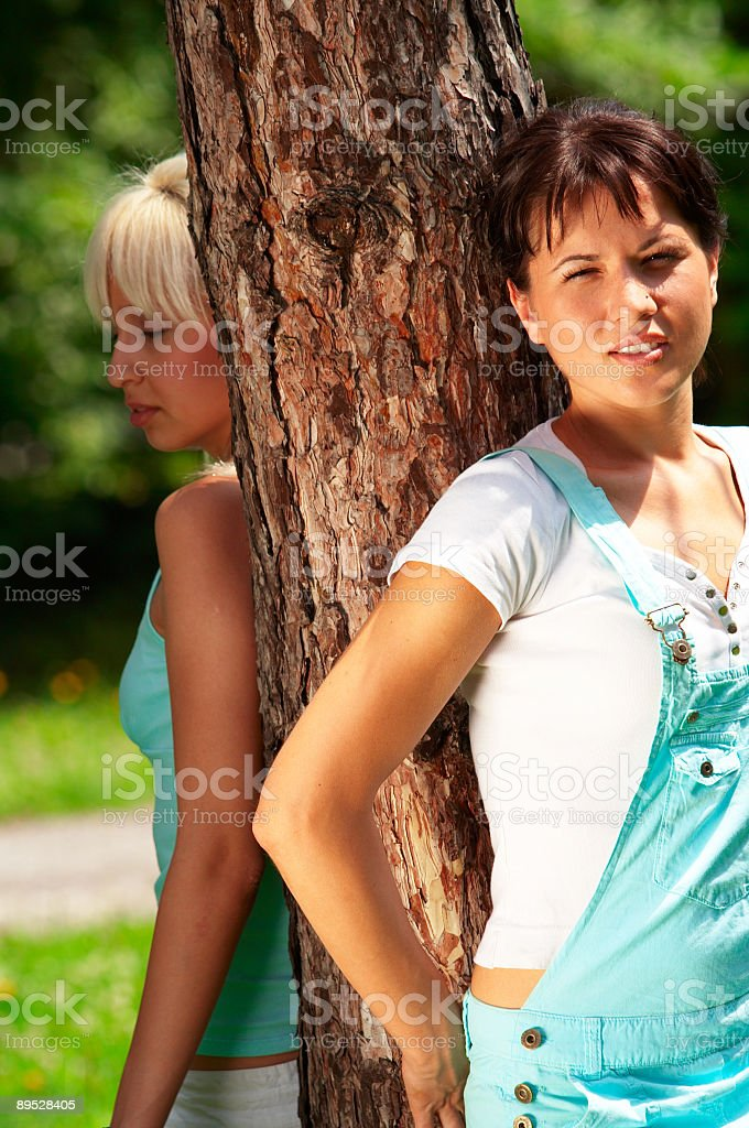Girls having fun outdoor royalty-free stock photo