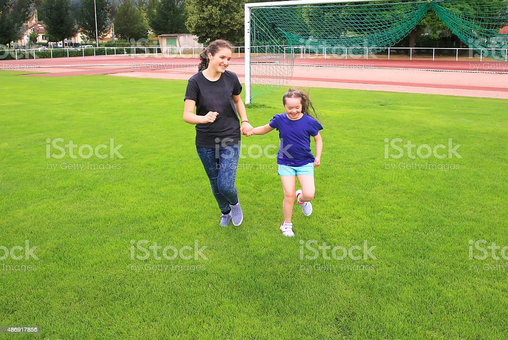Girls having fun stock photo