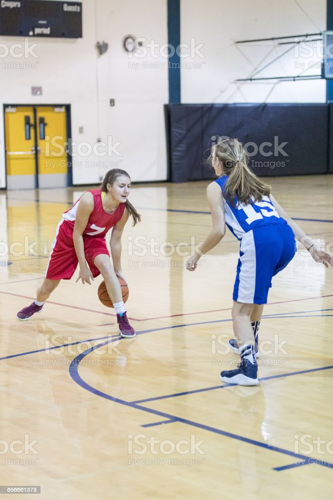 Girls high school basketball game - player at top of key dribbles and...