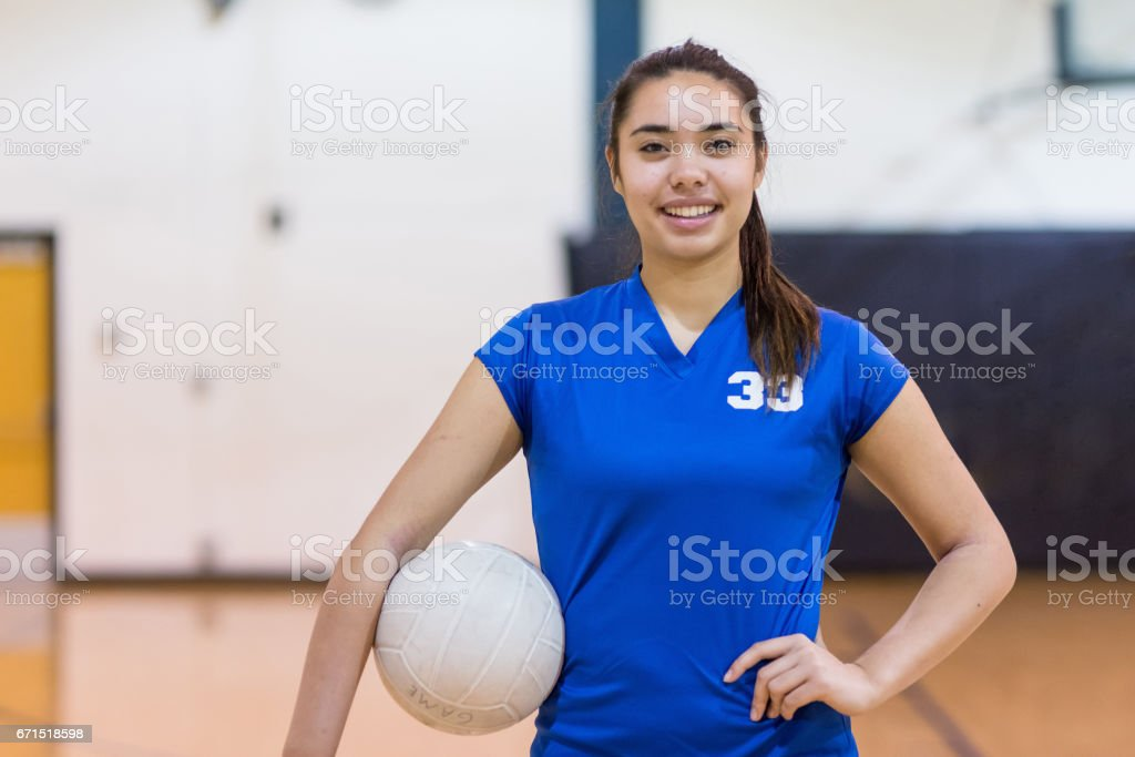 Girls high school volleyball team stock photo