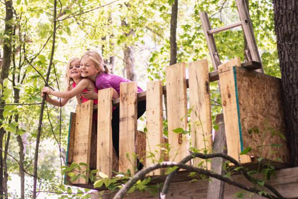 Girls Hug In a Treehouse 1 – zdjęcie