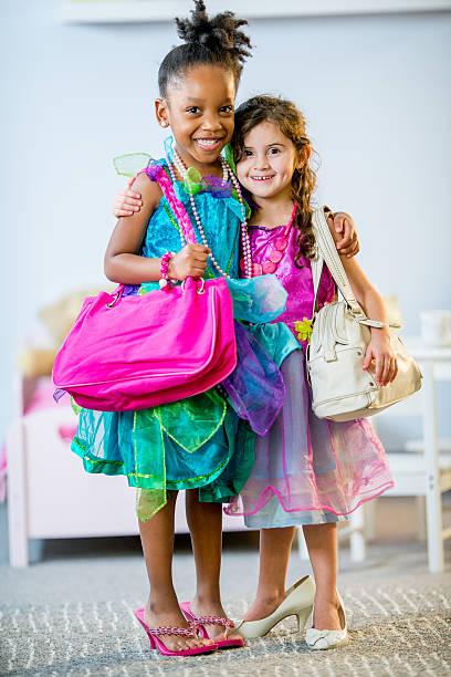 mädchen fantasie - kinderhandtaschen stock-fotos und bilder