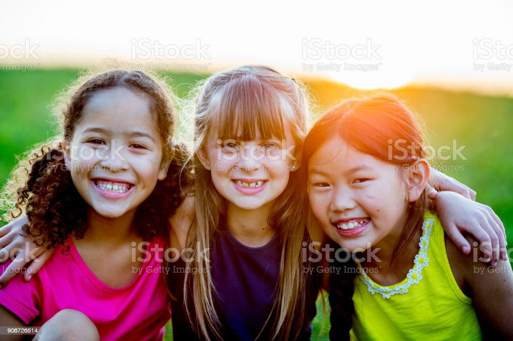 Girls In A Park stock photo