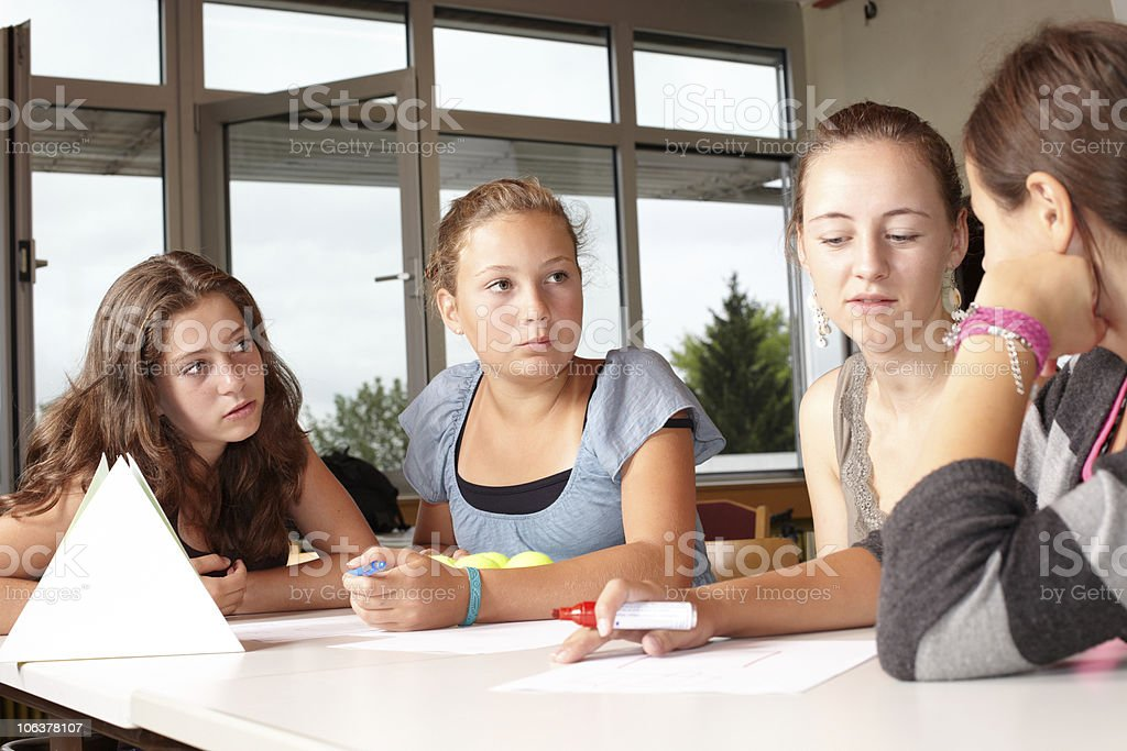 Girls in a school lesson. stock photo