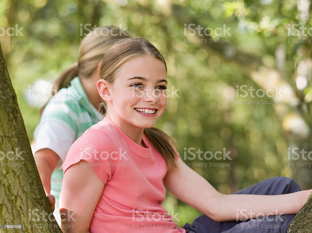 Girls in a wood royalty-free stock photo