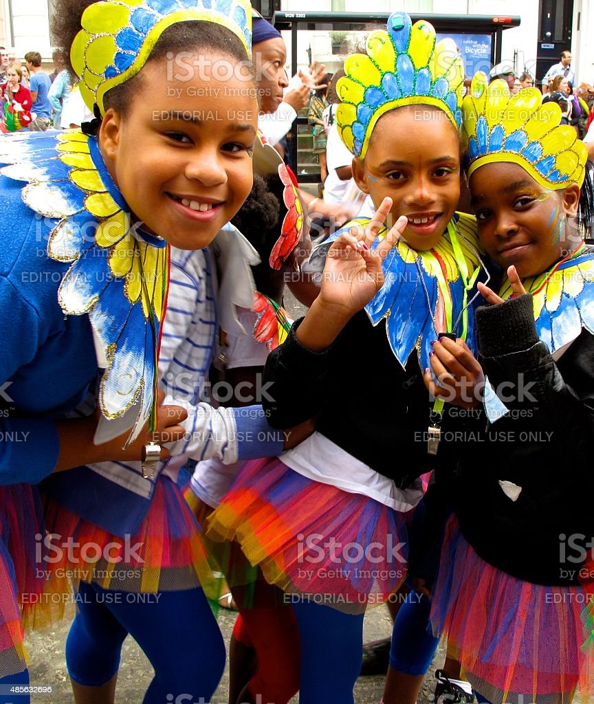Girls in costume at Notting Hill Carnival in London, England stock photo