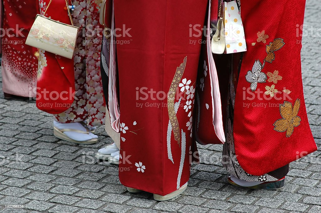 girls in kimono stock photo