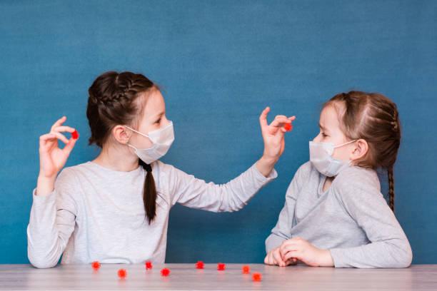 Karantinadaki tıbbi maskeli kızlar virüs oynarlar. Bir salgın sırasında izole çocukların boş zaman stok fotoğrafı