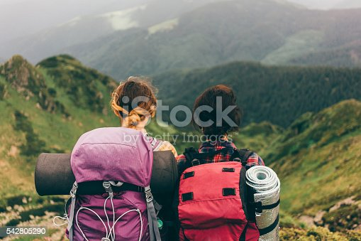 Girls hiking in the mountains