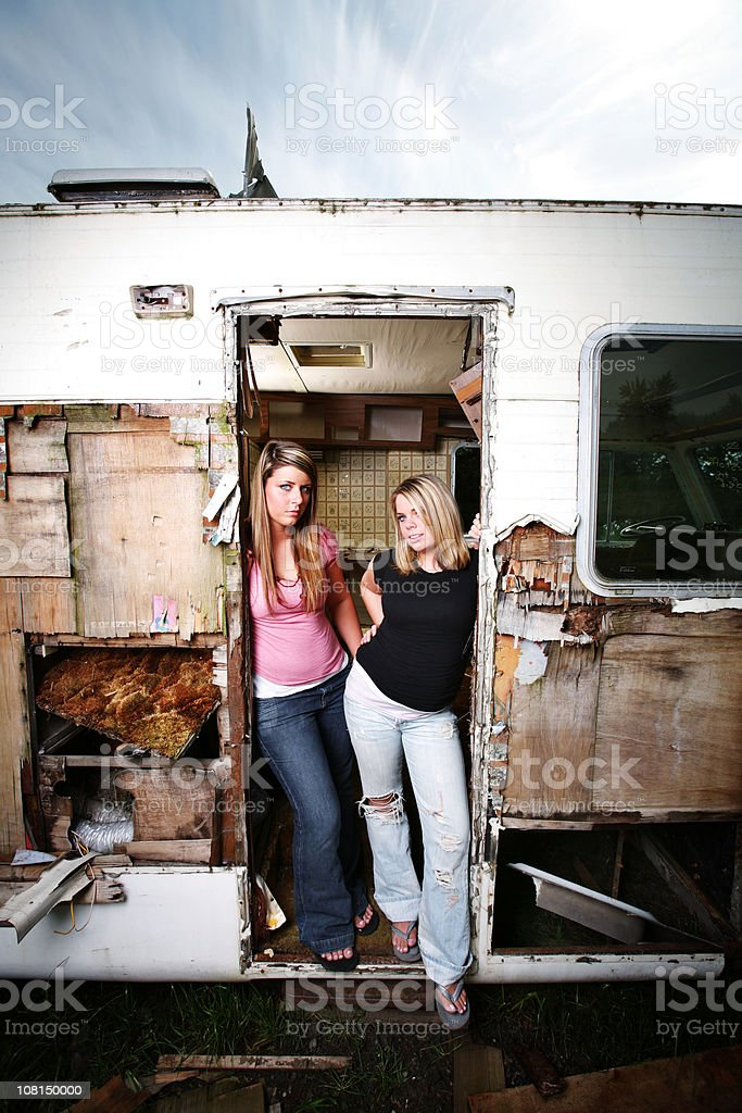 Girls in Old Broken Down Motor Home royalty-free stock photo