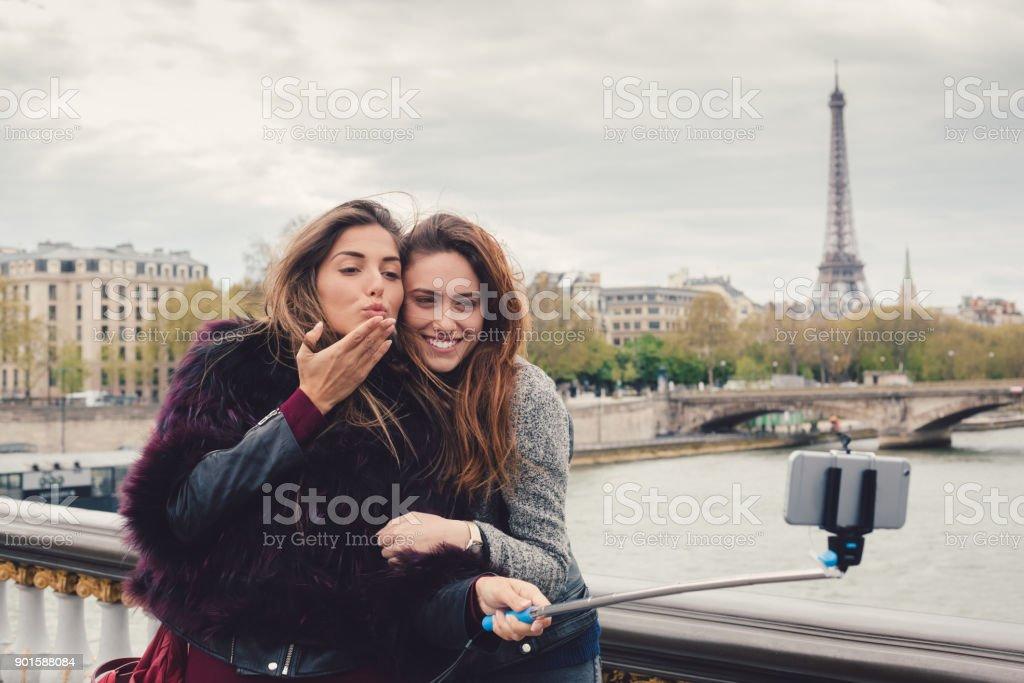 Girls in Paris stock photo