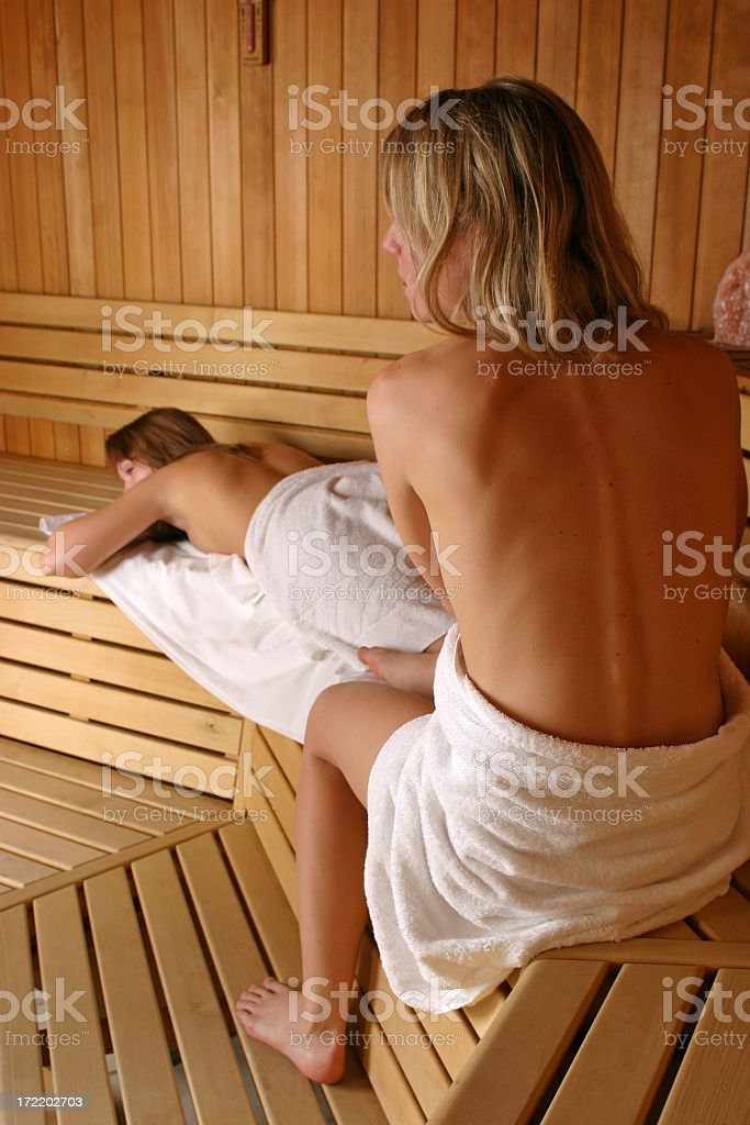 Girls in sauna royalty-free stock photo