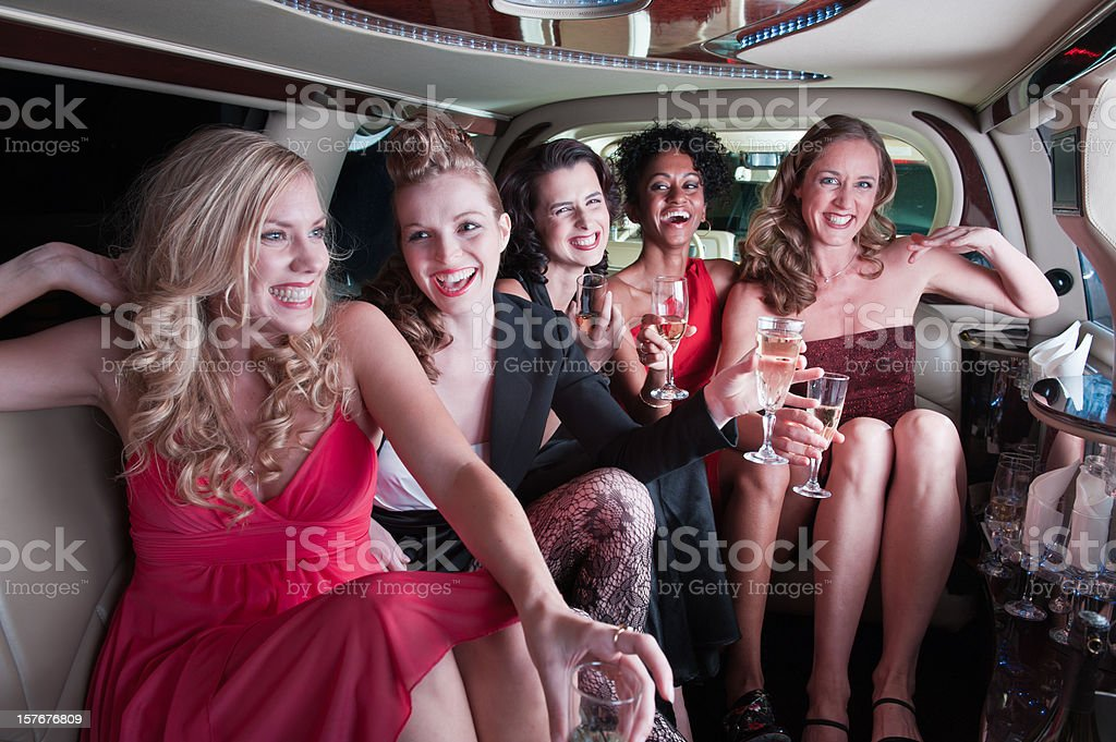 Girls in the Limo stock photo