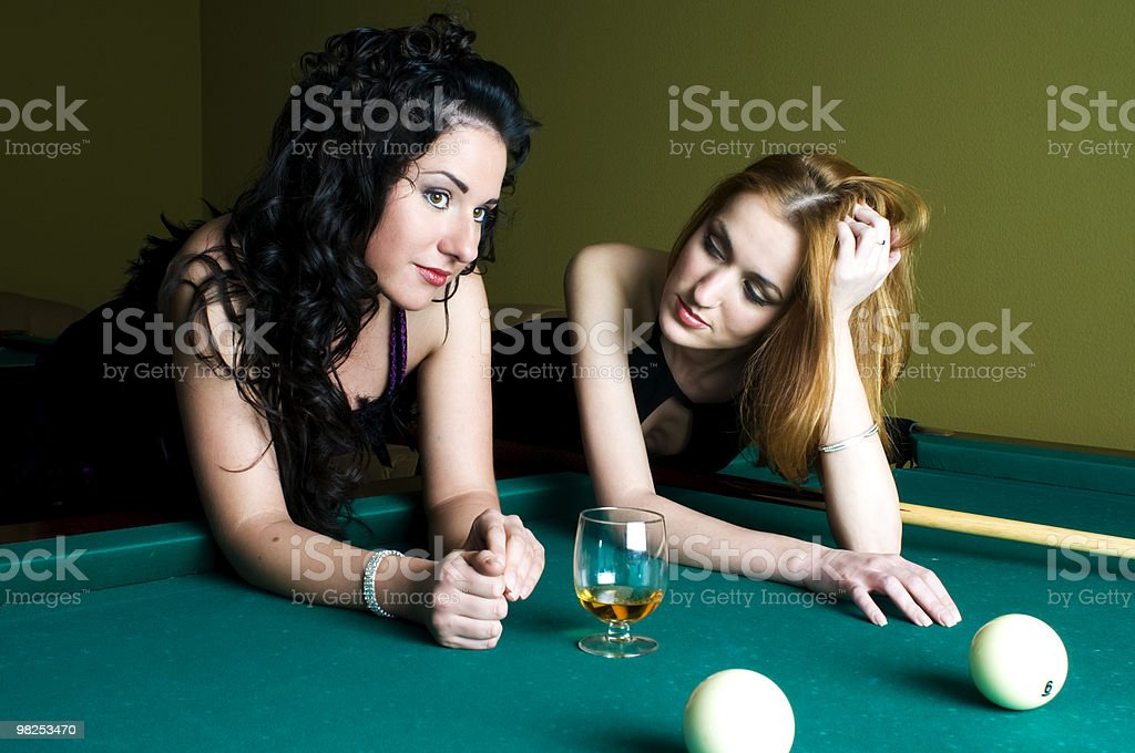 Girls in the pool club royalty-free stock photo