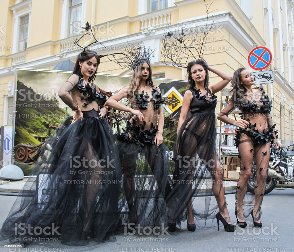 Girls in transparent dress. royalty-free stock photo