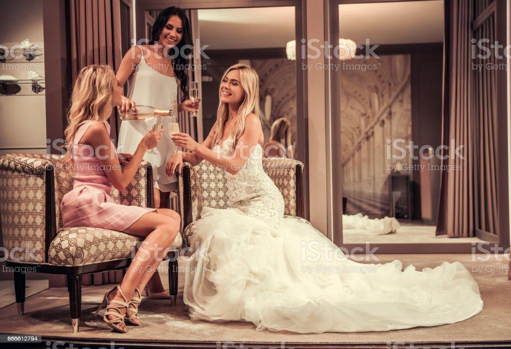 Girls in wedding salon stock photo