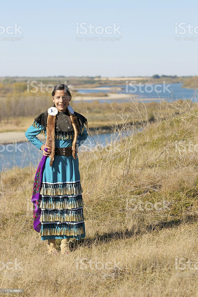 Girls Jingle Dress Dancer Portrait stock photo