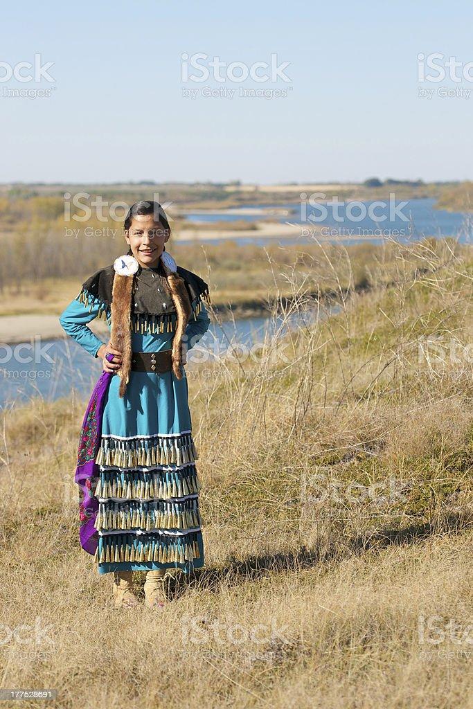 Girls Jingle Dress Dancer Portrait stock photo