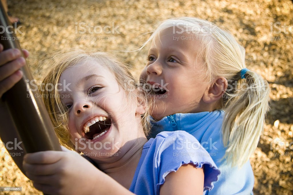 Girls Laughing and Playing stock photo