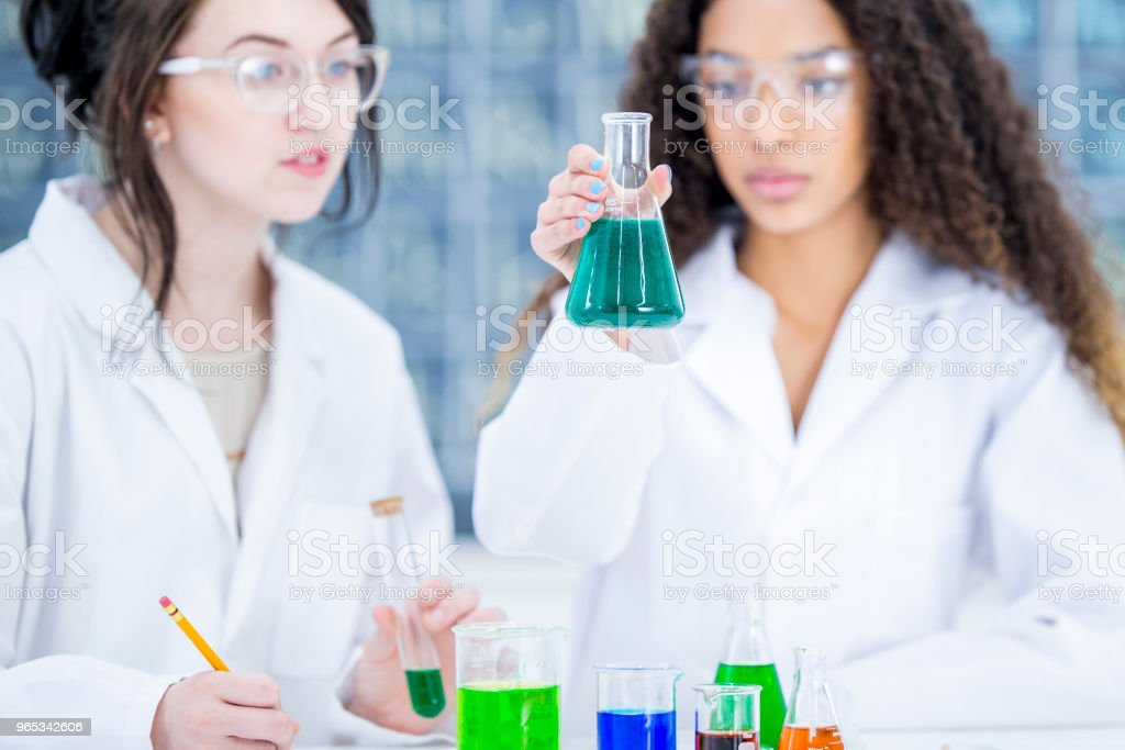 Girls Learning About Science royalty-free stock photo
