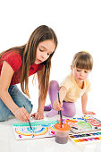 Two girls play at home,