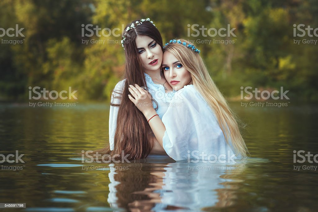 Girls lesbians are embracing. stock photo