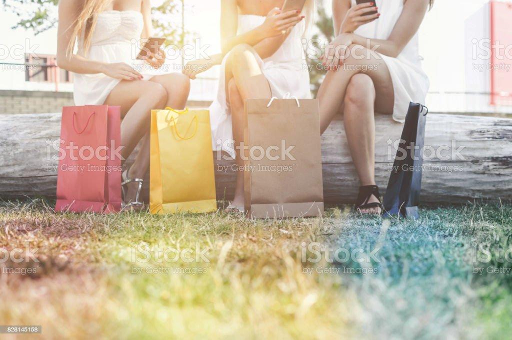 girls love shopping stock photo