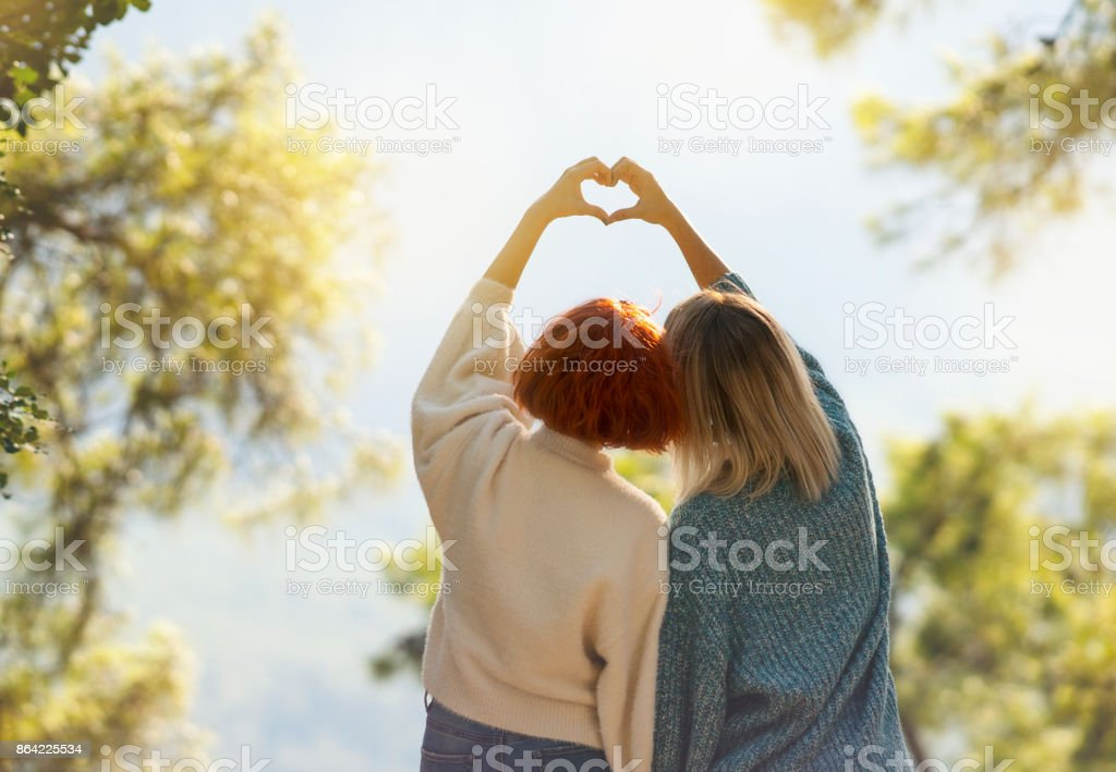 Girls making heart with hands royalty-free stock photo