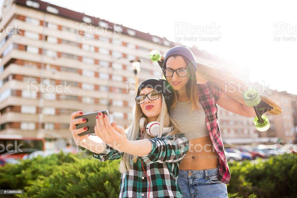 Girls making selfie stock photo