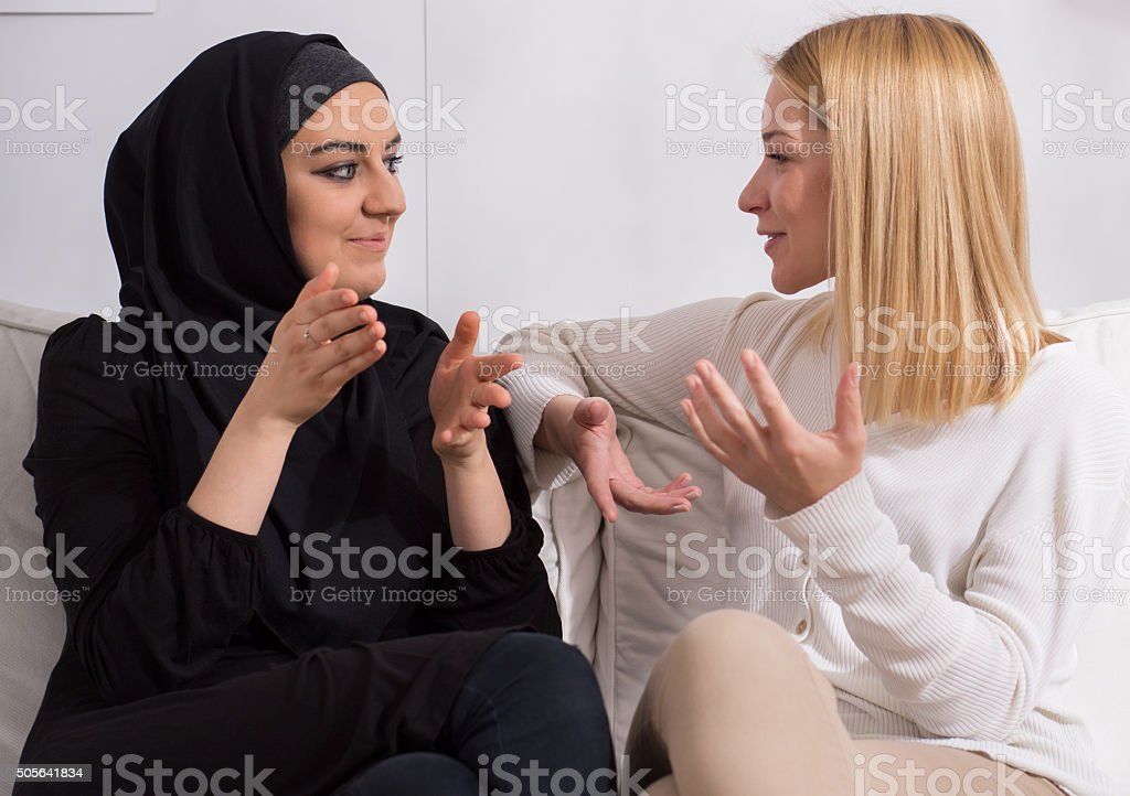 Girls of different ethnicity stock photo