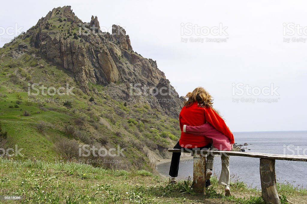 girls on a bench royalty-free stock photo