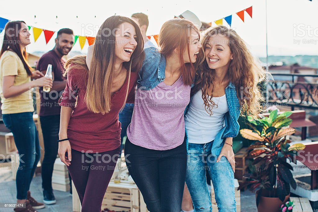 Girls on a party stock photo