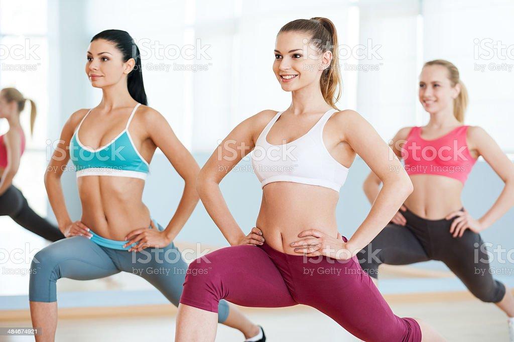 Girls on aerobics class. stock photo