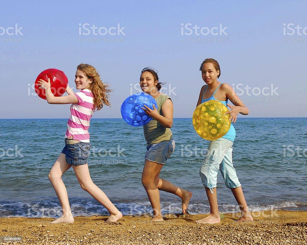 Girls on beach royalty-free stock photo