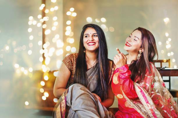 Girls on Diwali day stock photo