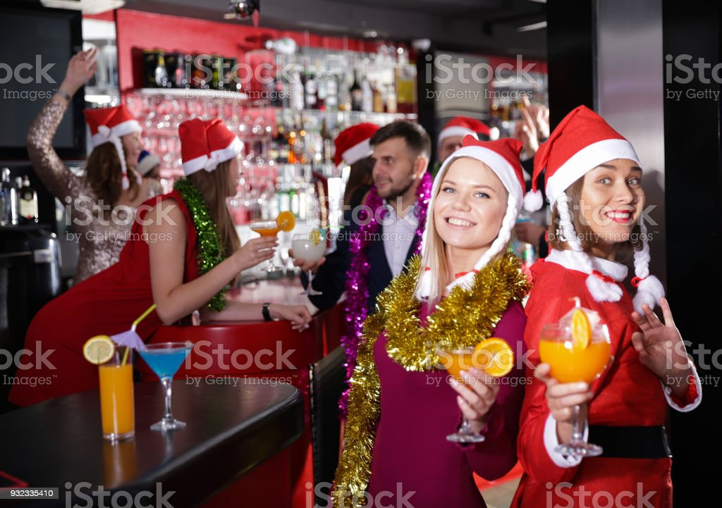 Girls on new year eve party in bar stock photo