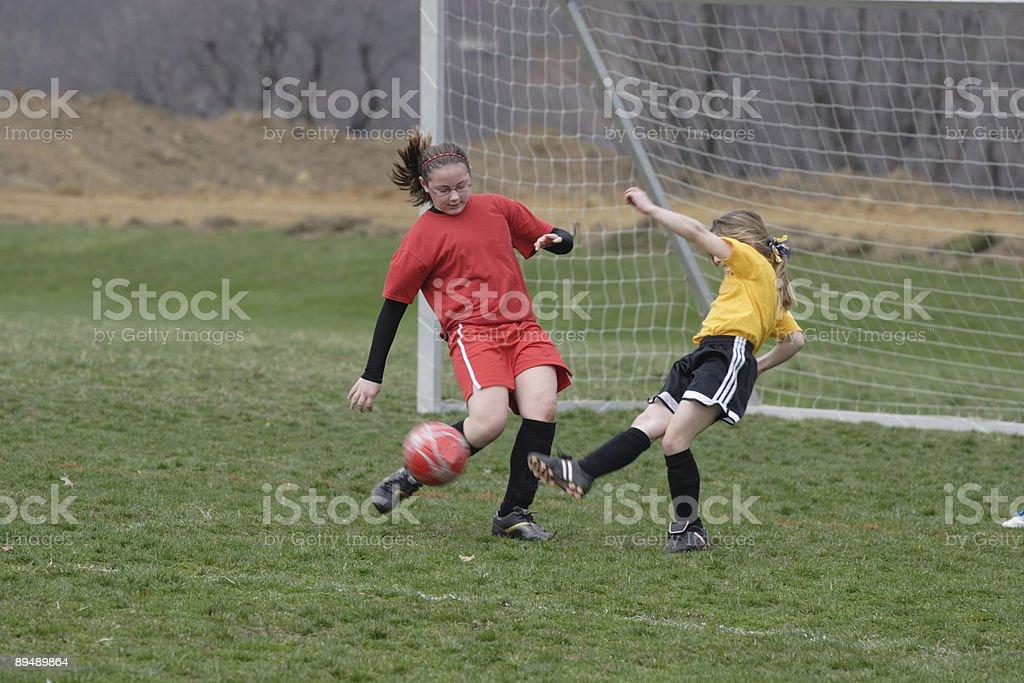 Girls on Soccer Field 2 royalty-free stock photo