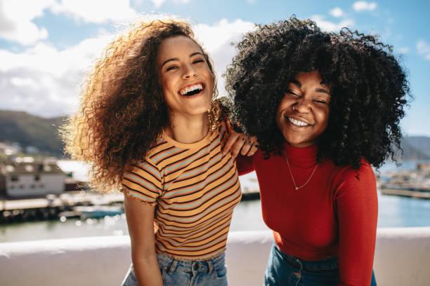 Girls on summer vacation stock photo