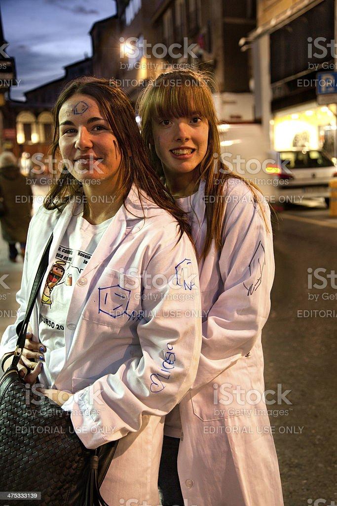 Girls party street stock photo